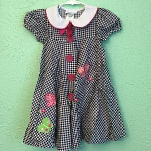 Girl's Bonnie Jean Plaid Button Up Dress Butterfly